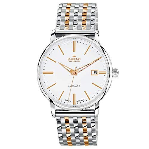 Dugena Herren Automatik-Armbanduhr, Saphirglas, Uhrwerk mit 24 Steinen, Festa Klassik, Silber/Gold, 7090191