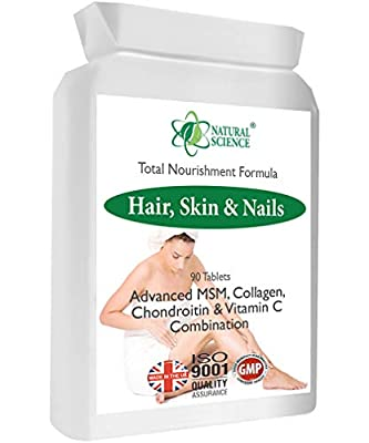 Stronger Healthier Hair, Nails, Skin - Natural Science MSM, Collagen Supplement - Intensive Nourishment 30-45 Day Course - Made in Certified UK Laboratory - 90 Tablets