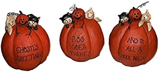 Blossom Bucket Halloween Tuxedo CAT & Ghost on Pumpkins Set of 3 Resin Figurines