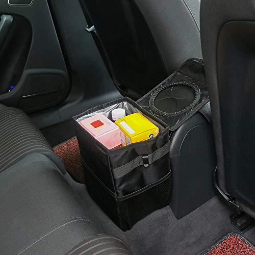 ABEDOE Auto Mülleimer mit Deckel, Faltbarer KFZ Abfalleimer Wasserdicht Auslaufsicher Auto Organizer,Vorder- und Rücksitz Auto Müllbeutel