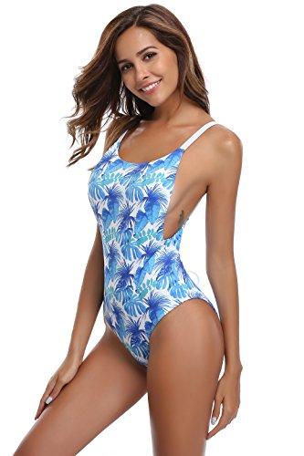 SHEKINI Damen Einteiliger Badeanzug Crossover Monokini Schwimmanzug Schnürung Badeanzüge mit Blumendruck High Cut Bikini (Medium, Blumen-Druck in Blau)