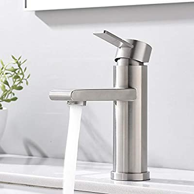 """VCCUCINE Modern Commercial Brushed Nickel Single Handle Bathroom Faucet, Laundry Vanity Sink Faucet With Two 3/8"""" Hoses"""