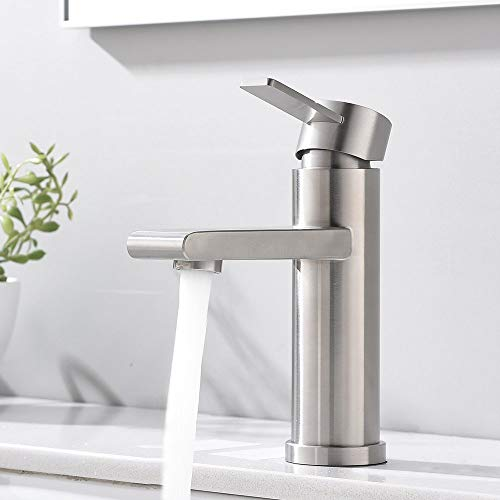 """VCCUCINE Modern Commercial Brushed Nickel Single Hole Single Handle Bathroom Faucet, Laundry Vanity Sink Faucet With Two 3/8"""" Hoses"""