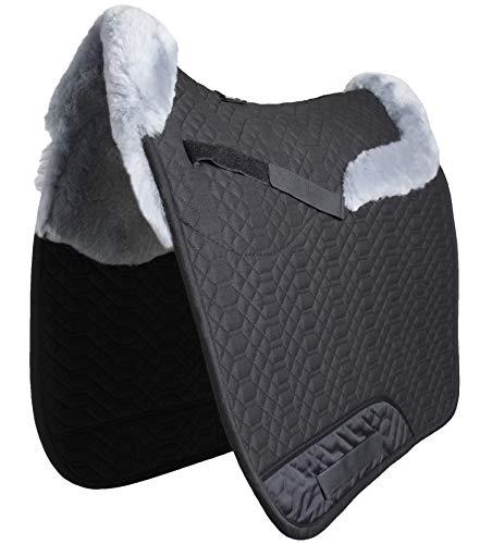 Engel Reitsport Lammfell Schabracke Stoff schwarz Fell Silber (Schabra 4) mit Fellkranz vorne und hinten Dressur (D)