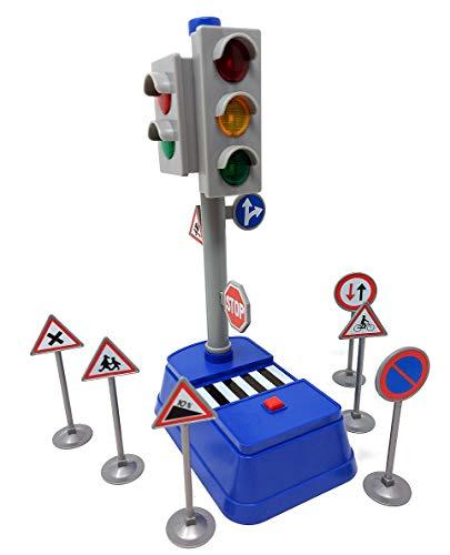 Spielzeug Ampel mit Verkehrszeichen, funktionierende Ampelanlage mit Licht & Sound für Auto Spielzeug