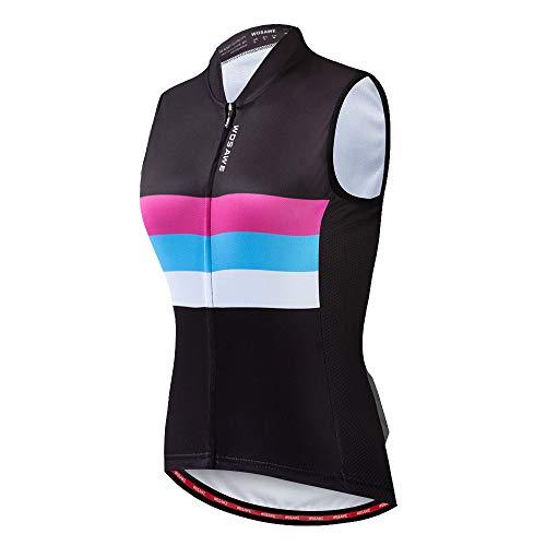 WOSAWE Damen Fahrradweste Atmungsaktive und Winddichte Bekleidung Triathlon Vest Sommer Ärmelloses Frauen Die Jersey (Color Shine S) - 2
