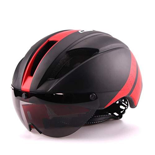 Aero Ultra-Light Goggle Road Casco de Bicicleta Casco en Molde Racing Ciclismo Bike Sports Safety Time-Trial Casco Ciclismo Black Red L 57-61cm