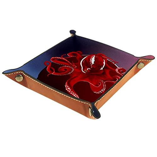 rogueDIV Bandeja plegable de piel sintética para dados, soporte de dados para D&D, RPG, juegos de mesa o escritorio para guardar llaves de teléfono de pulpo rojo de 15,7 x 15,7 cm
