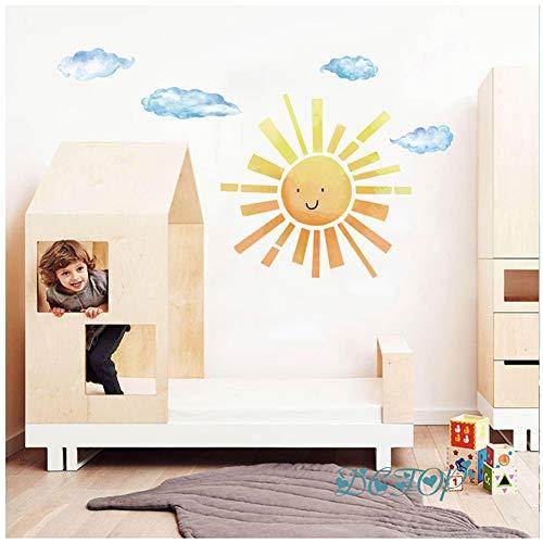 Sol y nubes divertidos dibujos animadospegatinas de pared cuarto de niños decoración calcomanías para niños niños dormitorio hogar nórdico arte DIY vinilos mural 40x48 cm