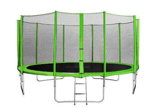 SixBros. SixJump 4,60 M Trampolino di Giardino Verde - Scaletta - Rete di Sicurezza - Copertura Antipioggia TG460/1792
