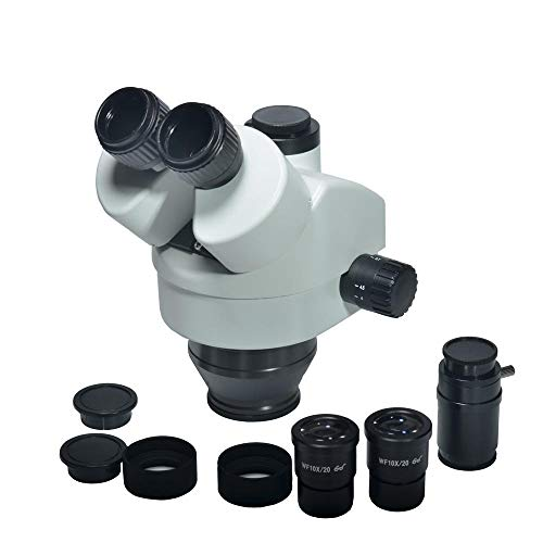 Lab Biological Microscope Simul-Focal 7X-45X Trinocular Zoom Stereo Microscope Head Microscope WF10X 20mm Eyepiece Lens (Color : Black, Size : One Size)