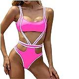 Bikinis for Women, 2 Piece Color Block Swimwear Ring Linked Sexy Swimsuit String Triangle Bikini Sets Pink