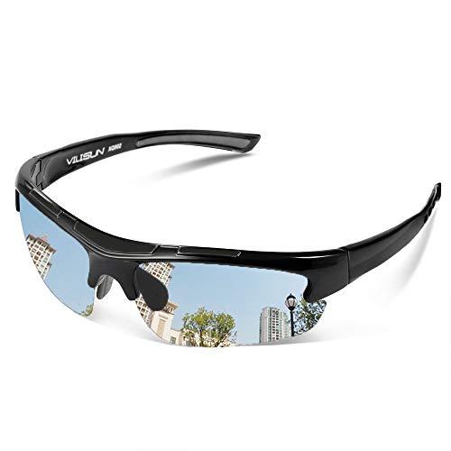 V VILISUN Occhiali da sole sportivi polarizzati Occhiali da bicicletta per uomo Donna Protezione UV TR90 Superlight Frame Baseball Running Driving Golf