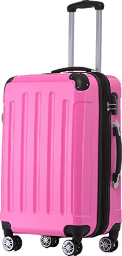 BEIBYE Zwillingsrollen 2048 Hartschale Trolley Koffer Reisekoffer Taschen Gepäck in M-L-XL-Set (Pink, L)
