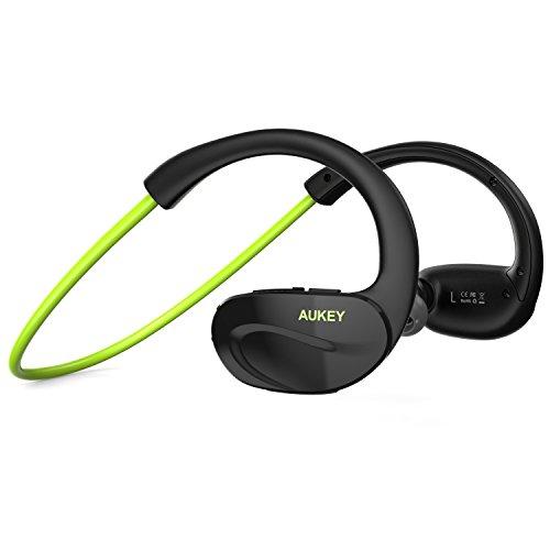 AUKEY Bluetooth Kopfhörer 4,1 Nackenbügel Sport Stereo Headset mit Mikrofon der Freisprechfunktion für Handys iPhone iPad Laptops Tablets Smartphones (Grün)