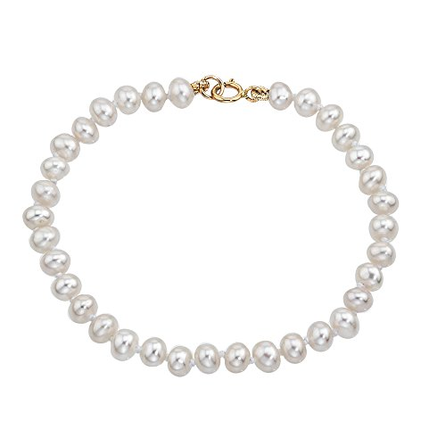 14k Solid Gold Pearl Bracelet Fresh Water Cultured Pearl Boys and Girls Bracelet 6'