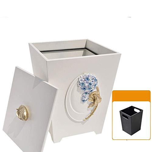 Vuilnisemmer hout prullenbak hars vierkante recyclingcontainer prullenbak papieren manden met deksel prullenbak (kleur: C 25cm)
