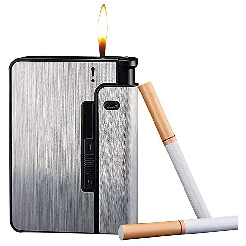 HHYHOME Estuche para Cigarrillos 2 En 1,Cigarrillos De Expulsión Automática, Resistente Al Viento Y A La Humedad, Fácil De Reemplazar,para 9 Cigarrillos Regulares,Regalos De Cigarros para Hombres,C