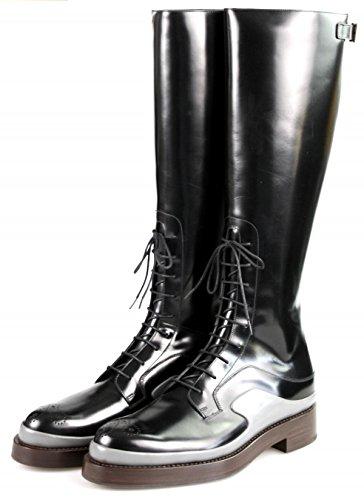Prada Damen Schwarz Budapester Leder Stiefel 1W054G 055 F0633 39.5 EU