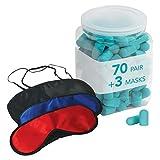 Flents Sleep Masks + Ear Plugs Super Sleep Kit | Includes 70 Pairs of Soft Foam Sleep Ear Plugs and 3 Sleep Masks | NRR 29