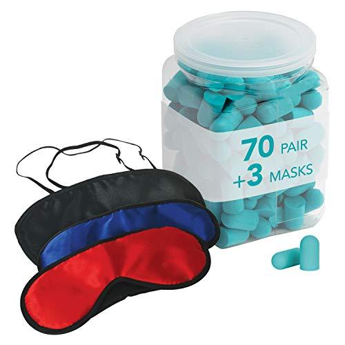 Flents Sleep Masks + Ear Plugs Super Sleep Kit   Includes 70 Pairs of Soft Foam Sleep Ear Plugs and 3 Sleep Masks   NRR 29