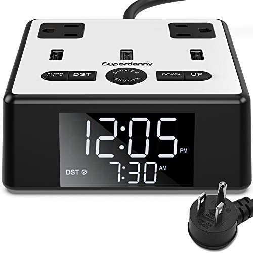 SUPERDANNY Alarm Clock Charger Power Strip Surge Protector USB 3.2A Fast Charging Station 2 Outlets 6.5ft Extension Cord for iPhone iPad Samsung Computer Laptop Home Office Travel Hotel Bedside