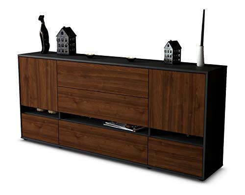 Stil.Zeit Sideboard Floriana/Korpus anthrazit matt/Front Holz-Design Walnuss (180x79x35cm) Push-to-Open Technik & Leichtlaufschienen