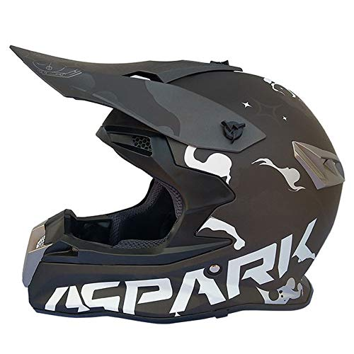 MRDEAR Motocross Casco MX Hombre Adulto Casco Cross Negro, Orejeras Desmontable, Casco MTB Integral para Off-Road Enduro Motocicleta Quad Downhill...