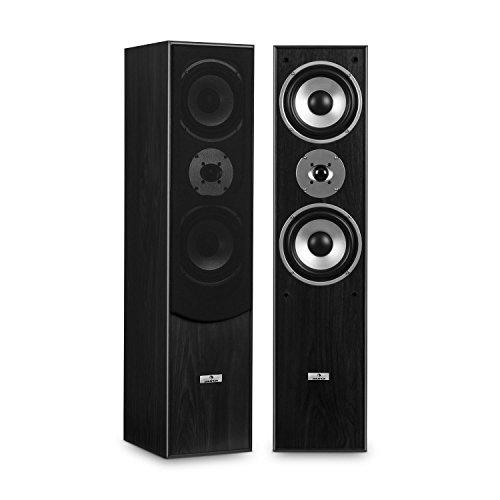 auna L766 - HiFi Boxen-Paar, Stand-Lautsprecher, Lautsprecher-Boxen, 3-Wege-Technik, Bassreflex, 20 Hz bis 20 kHz Frequenzgang, 8 Ohm Impedanz, max. 350 W Leistung, Holz-Chassis, schwarz