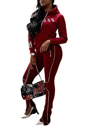 FOBEXISS Sudadera con capucha de manga larga con estampado de letras, pierna recta, dobladillo con cremallera, pantalones casuales y sueltos, juego de 2 piezas para mujer, ropa de salón atlética