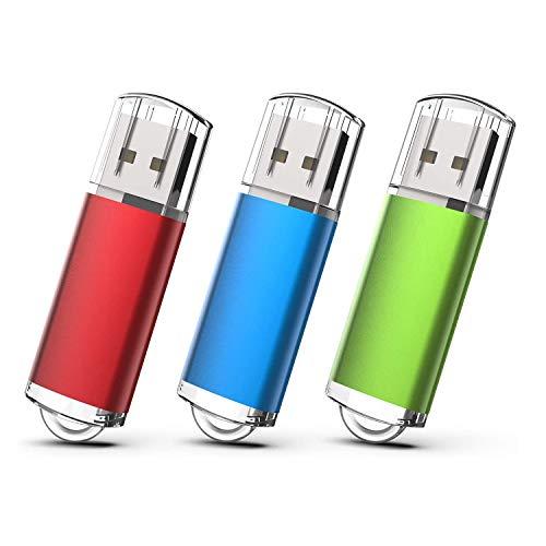 EASTBULL USBメモリ 2GB 3個セット フラッシュメモリー USB2.0 フラッシュドライブ キャップ式 防塵性能優れ ストラップ付き LEDライト付き (2GB 3色)