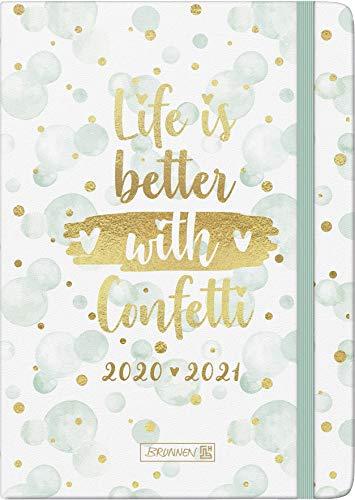 """BRUNNEN 1072130091 """"Confetti"""", Wochenkalender/Schülerkalender 2020/2021, 2 Seiten = 1 Woche , Blattgröße 14,8 x 21 cm , A5 , Hardcover-Einband mit Textilüberzug"""