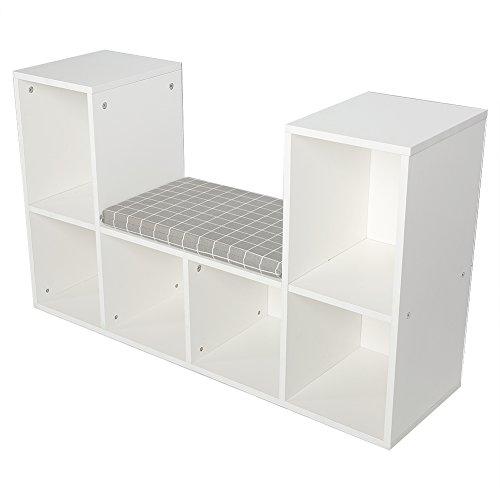 GOTOTOP Holz Bücherregal Aufbewahrung Regal Raumteiler mit Kissen (Weiß)