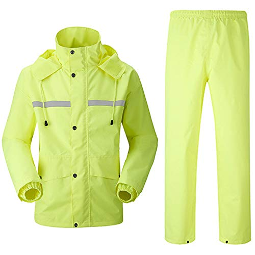 SHENGYUAN Motorcycle Rain Suit Men/Women - Waterproof Jacket & Over Trousers with Safety Reflectors, Fishing Rain Gear Jacket and Pants,Yellow,4XL