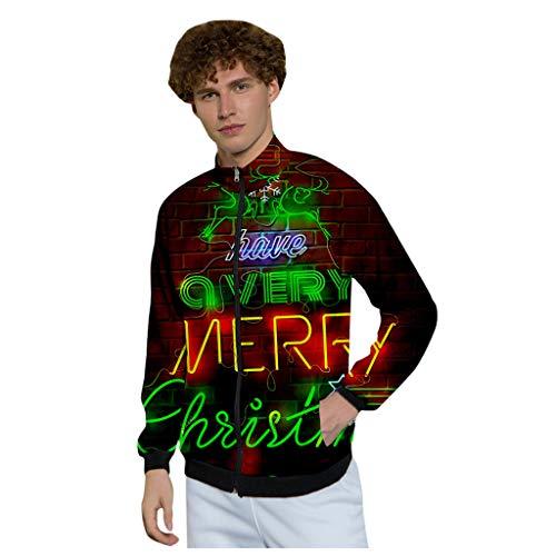 KPILP Hoodie Herren Weihnachten Sweatshirt Pullover Jacke Große Größen Weihnachtspullover Mantel Herbst Winter Reißverschluss Jumper Tops mit Stehkragen