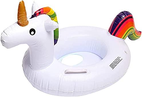 Ducomi Float - Flotador hinchable para niños pequeños con asiento, diseño de unicornio, juguete flotante, ideal para jugar en agua en el mar, piscina o playa