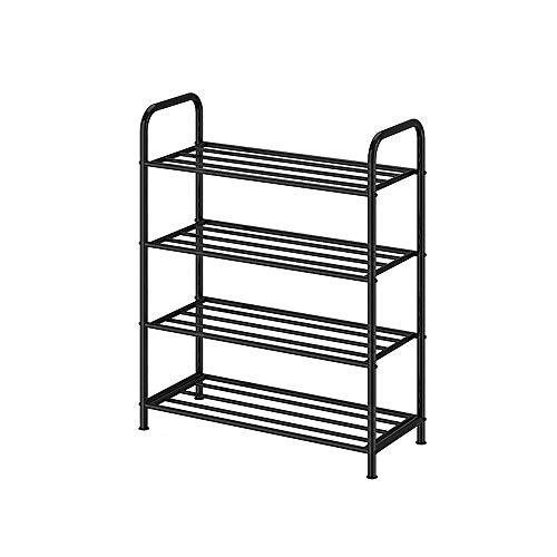 JIADUOBAO Zapatero de 4 niveles, mueble de almacenamiento multifunción, montaje rápido, 45/65/85 x 26 x 80 cm, color: negro (tamaño: 65 x 26 x 80 cm)
