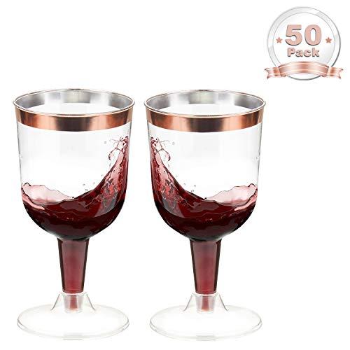 LOMOFI Kunststoff Rotweingläser   150ml - 50 Pcs  klar Kunststoff Goldrand Elegant Rotwein trinkglas, Perfekt für Catering, Partys & Events, Weihnachten, Neujahr - Roségold
