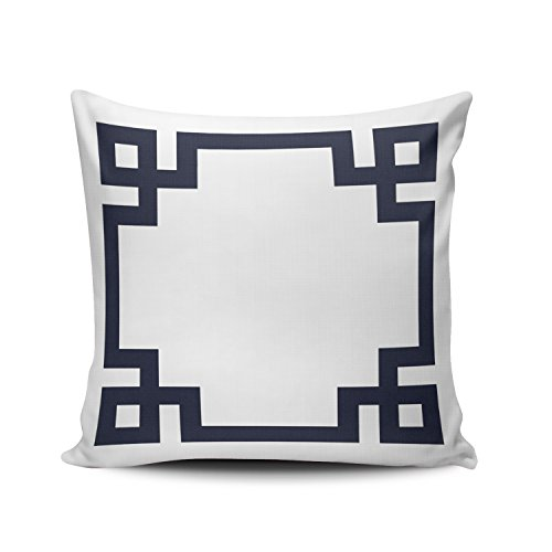 SALLEING Custom Fashion Home Decor Pillowcase Navy Blue and White Greek Key Border European Square Throw Pillow Cover Cushion Case 26x26 Inches One Sided Print