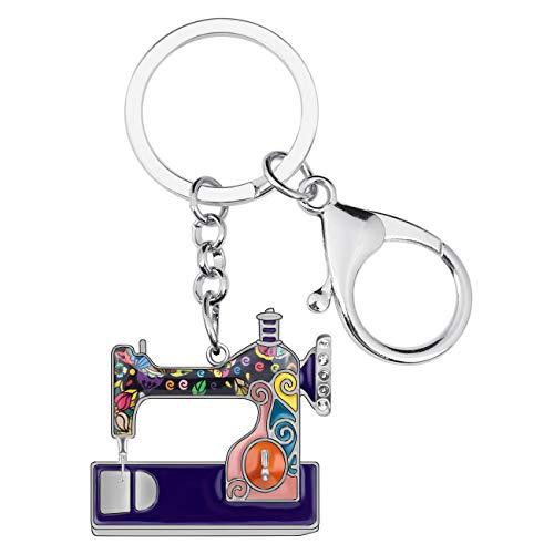 DUOWEI Metal Enamel Mini Sewing machine Keychains Hypoallergenic Unique Keyring for Women Girls Handbag Bag Charms Gifts (Purple)