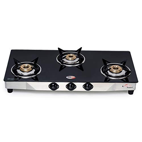 Hornbills PNG Fitted 3 Burner Stainless Steel Body Heavy 3d Pansupport Gas Stove ISI Certified- 1 Year Warranty