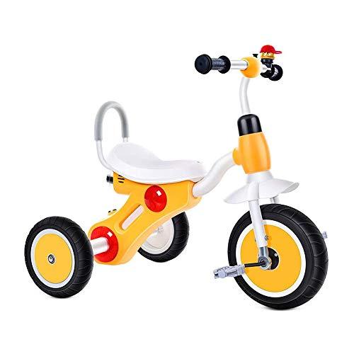 HYDDG Triciclo para Niños Niñito Años 2-6 años Antiguo Al Aire Libre 3 Ruedas Paseo en Triciclo con Campana y Música Luces Rápido Montaje Comodidad Asiento,Amarillo