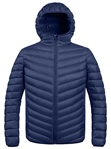 ZSHOW Men's Winter Hooded Packable Down Jacket(Navy,Medium)