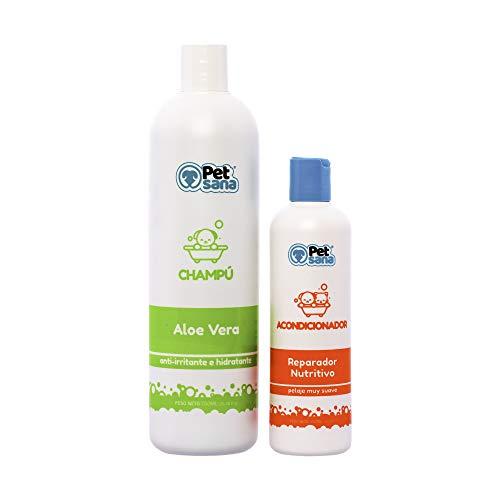 Rc Ocio Pack Champu Perros Aloe Vera + Acondicionador suavizante/Piel Sensible atopica champú para Combatir la Dermatitis, picores, picor, picaduras de Insectos. para Pelo Blanco, Negro y Marron