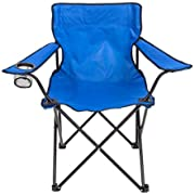 Mac Sports Bazaar Folding Arm Chair | Standard Camping Chair, Weight Capacity up to 225 Pounds/102Kg, for Outdoor Beach Camping Fishing Tailgatin, Heavy Duty 600D Fabric, UV/Mildew Resistant | Blue