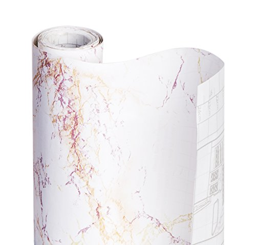 Smart Design Shelf Liner Adhesive - (18 Inch x 20 Feet) - Drawer Cabinet Paper - Kitchen [Ivory Marble]