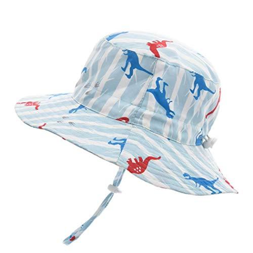Foruhoo Baby Mädchen Mütze Sonnenhut, Kinder Hut UV-Schutz mit Kordelzug, Breite Krempe Sommerhut (Dinosaurier,48cm / 6-12 Monate)