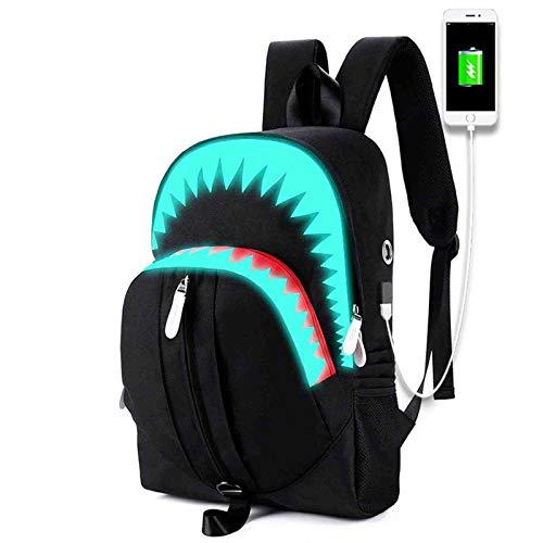 WWZZ Mochila Luminosa de Estilo Moderno, tiburón Grande de Alta Capacidad USB Puerto de Carga de la Mochila Multifunción Multifunción Bolsa de la Escuela, niño.