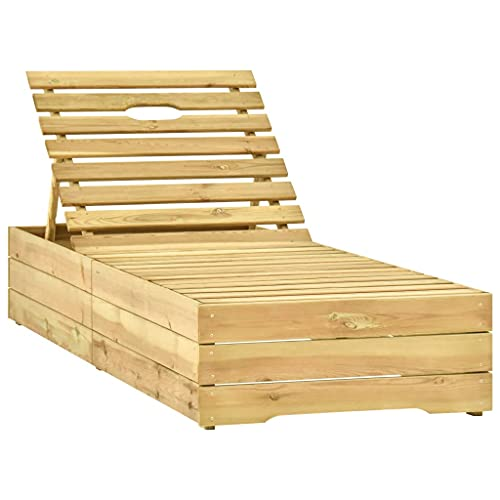 vidaXL Bois de Pin Imprégné de Vert Chaise Longue Transat de Patio Bain de Soleil d'Extérieur Chaise Longue de Terrasse Jardin Plage