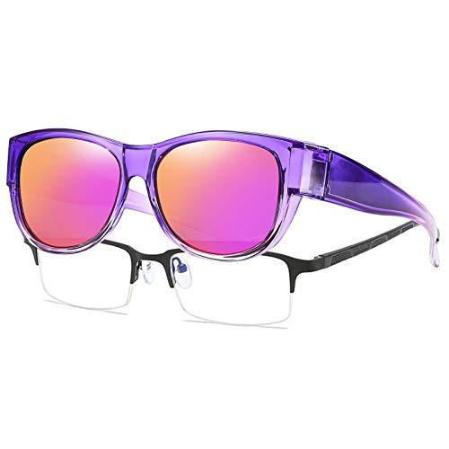 SHEEN KELLY De gran tamaño se adapta a las gafas de sol Lente polarizada espejada para mujeres y hombres marco de circular